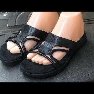 Aerology Black Patent Slide Up Sandals Size 8